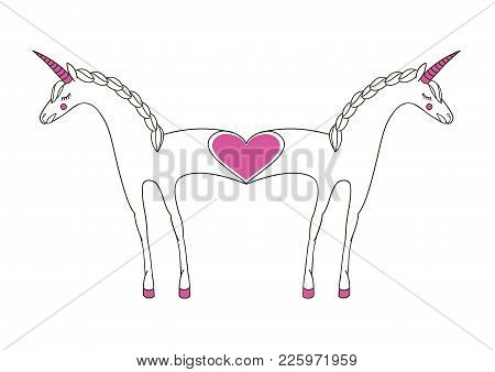 Romantic Illustration With Enamored Unicorns. Two-in-one. An Unusual Illustration Of A Fused Unicorn