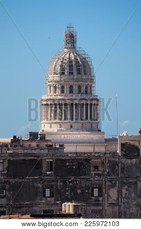 Dome Of The Capitolio In Old Havana In Cuba