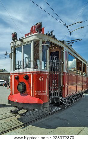 Istanbul, Turkey - May 05, 2014: Nostalgic Tram Is The Heritage Tramway System. It Was Re-establishe