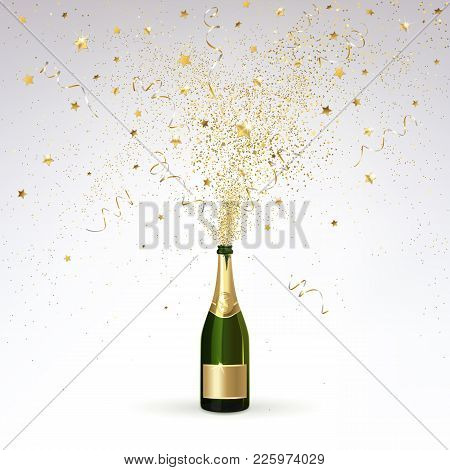 Champagne Splashes Of Gold Confetti On A Light Background