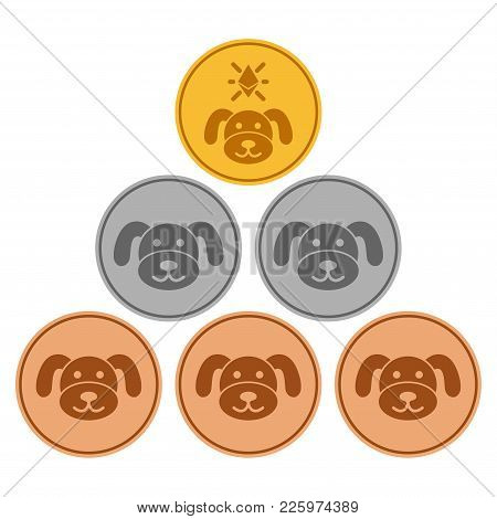 Pup Coins Flat Vector Illustration. An Isolated Illustration On A White Background.