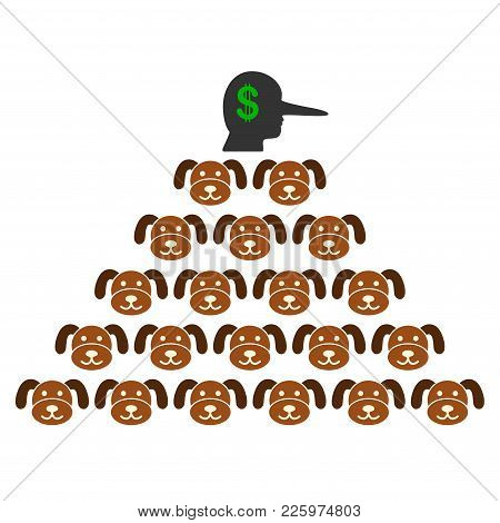 Puppycoin Pyramid Scammer Flat Vector Icon. An Isolated Illustration On A White Background.