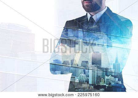 Businessman On Abstract Office City Workplace Background. Success And Finance Concept. Double Exposu