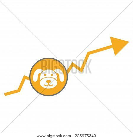 Puppycoin Growing Trend Flat Vector Illustration. An Isolated Illustration On A White Background.