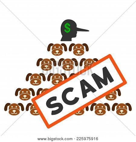 Puppycoin Pyramid Scam Flat Vector Pictograph. An Isolated Illustration On A White Background.