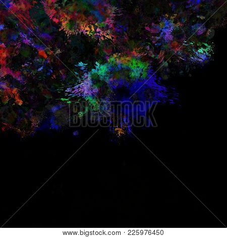 Artistic And Colorful Paint Splats On A Dark Background.