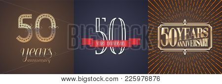 50 Years Anniversary Vector Icon, Logo Set. Graphic Design Element With Red Ribbon And Golden Number