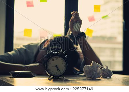 Go Bankrupt And Unsuccess Concept, Fail And Tired Working Businesman In Office