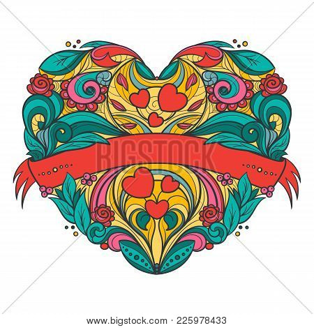 Decorative Heart With Floral Pattern And Ribbon. Hand Drawn Vector Graphics Illustration.  Fully Edi