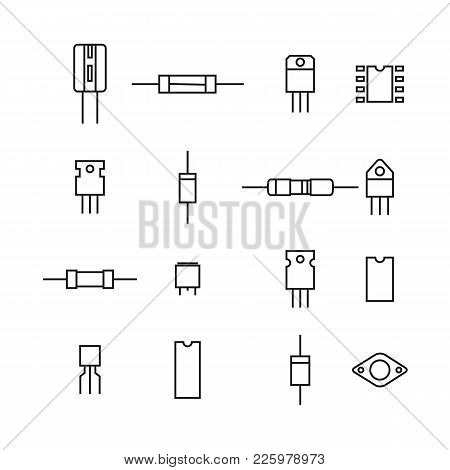 Set Of Various Electronic And Radio Components Of The Thin Lines, Isolated On White Background. Flat