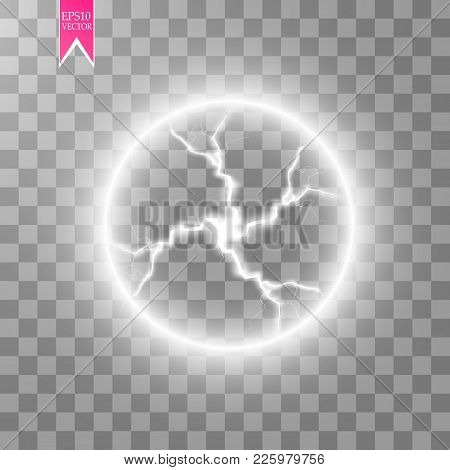 Transparent Light Effect Of Electric Ball Lightning. Magic Plasma Ball.vector Illustration. Eps 10.