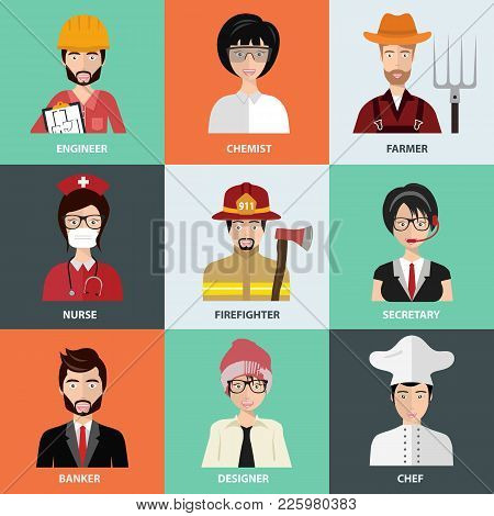 People Of Different Professions, Icons In Set Collection. Worker And Specialist Avatars. Flat Vector