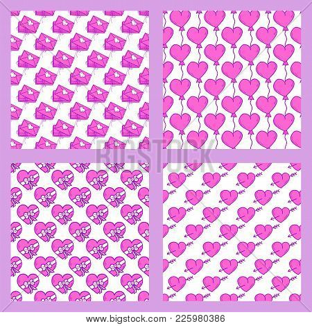 Simple Red Heart Sharp Vector Seamless Pattern Background Pink Color Card Beautiful Celebrate Bright