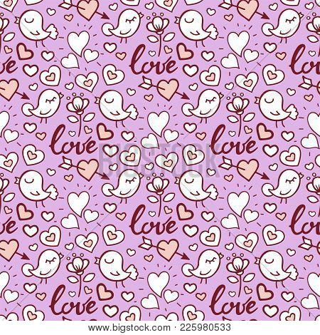 I Love You Text Heart Sharp Vector Seamless Pattern Background Card Beautiful Celebrate Bright Emoti