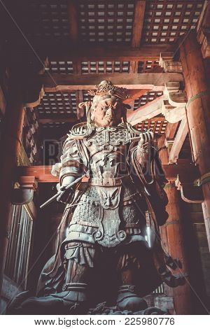 Komokuten Guardian Statue In Daibutsu-den Todai-ji Temple, Nara, Japan