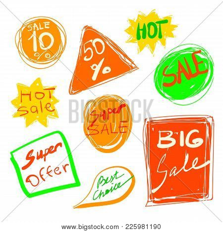 Vector Sales Stickers Pack. Hand Drawn Discount Collection. Super Offer, Hot And Best Choice.