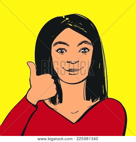 Vector Smiling Young Woman Making Thumbs Up Sign. Hand Drawn Illustration.