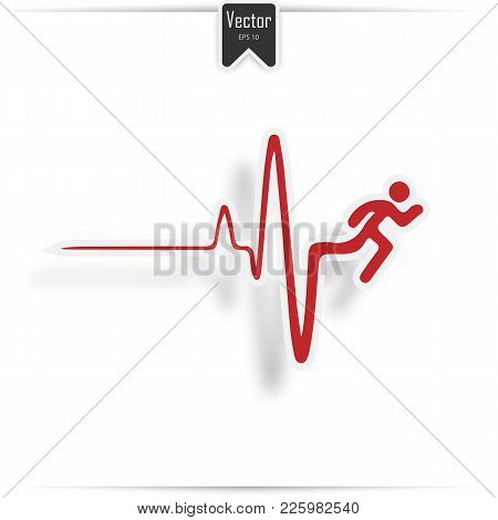 Cardiogram Of Heart Stop And Death. Vector Heartbeat Electrocardiogram And Running Man.