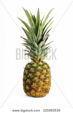Fully Ripe Pineapple, View Of Whole Fruit, White Bacground, Close Up