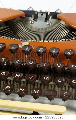 Close Up On The Keys, An Old Typewriter