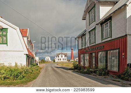 Andenes, Norway - July 6, 2011: Andenes Lighthouse  In Andenes. The 40 Meter Tall Iconic Lighthouse