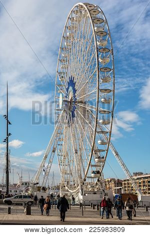 Marseille, France - December 4, 2016: Large Ferris Wheel At Square Of Old Vieux Port Of Marseille, P