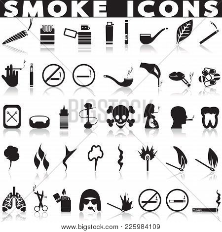 Smoking Icon Set. Simple Set Of Smoking Vector Icons For Web Design Isolated On White Background