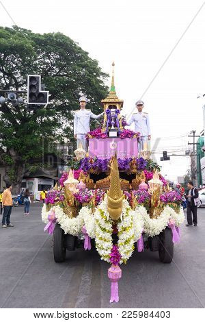 Chiang Mai, Thailand - February 3: The Parade Cars Are Decorated With Many Different Kinds Of Flower