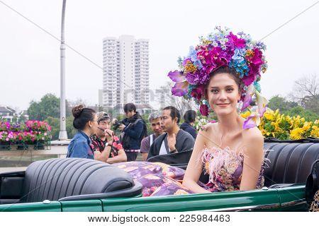 Chiangmai, Thailand - February 3: Maria Poonlertlarp, Miss Universe Thailand 2017 In Annual 42Th Chi