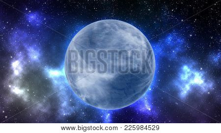 Earth Type Planet In Outer Space Background With Nebula  Full Of Stars