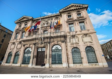 Marseille, France - December 4, 2016: Wide-angle View Of The Historic Town-hall
