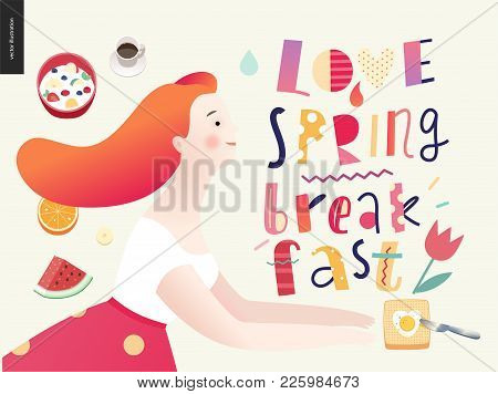 Love, Spring, Breakfast Lettering Composition And A Couple Running Towards To Each Other And A Set O