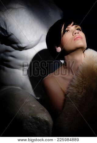Winter Beauty In Luxury. Fashion Fur. Beautiful Woman In Luxury Fur Coat. Fashion Model Posing In Ec