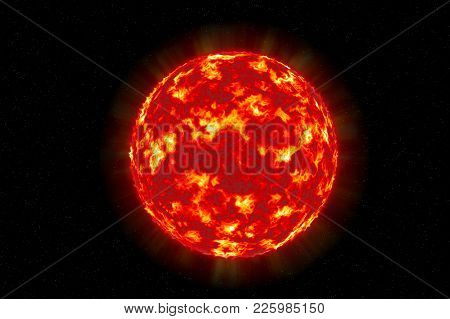 Sun solar surface texture sphere illustration isolated on a celestial star background poster