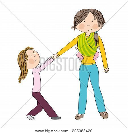Naughty Jealous Little Girl Fighting Mother's Attention, Tugging Her Hand, Behaving Bad. Mum Carryin