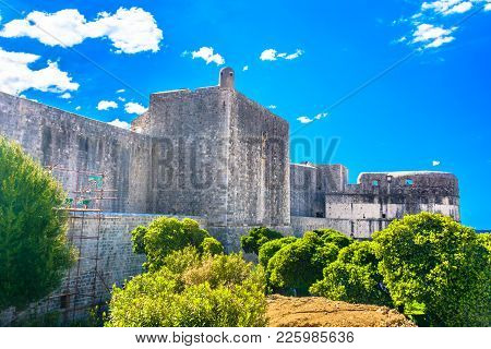 Scenic View At Old Famous Fort In Dubrovnik, City Walls Tourist Attraction.
