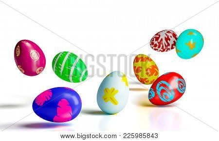 painted colorful artistic easter eggs 3d rendering image