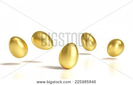 classic golden eggs on white background 3d rendering image