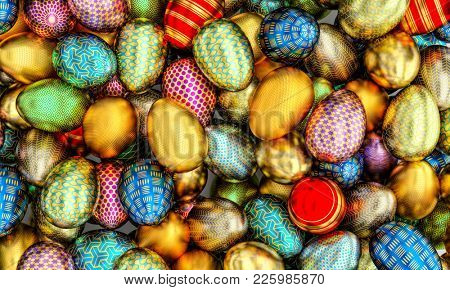 lots of golden artistic easter eggs 3d rendering image