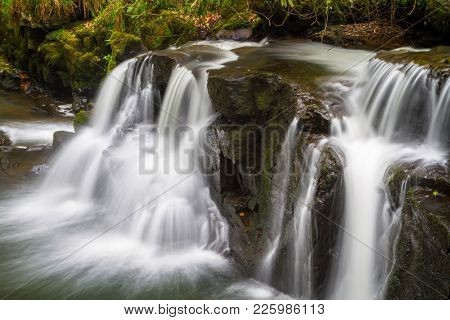 Beautiful cascades of Clare Glens in Ireland