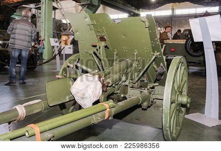 St. Petersburg, Russia - 7 May, The Breech Of A Gun, 7 May, 2017. Visitor In The Exhibition Pavilion