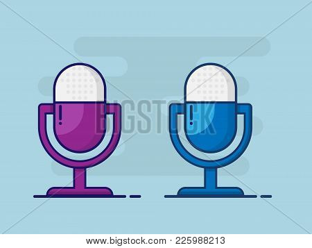 Illustration Of Microphone Flat Design Vector Background