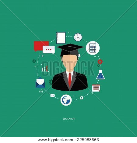 Education Concept. Student With Education Icons. Flat Vector Illustration.