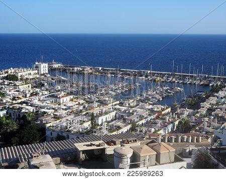 View Over The Picturesque Port At Puerto De Mogan, Gran Canaria, Canary Islands