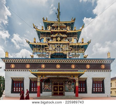 Coorg, India - October 29, 2013: Side Facade Of Zangdog Palri Golden Temple Of Namdroling Buddhist M