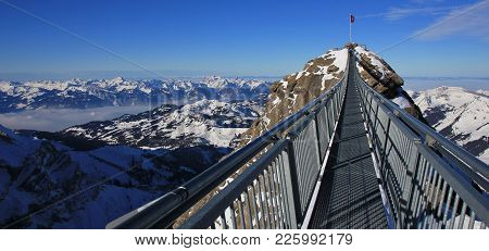 Tourist Attraction In The Swiss Alps. Glacier Des Diablerets.