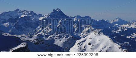 View From Glacier Des Diablerets. Dents Du Midi, Swiss Alps.