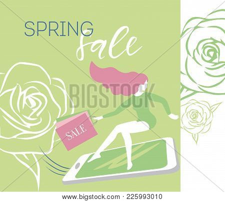 Lettering Cyber Monday Girl On Smartphone In A Hurry To Sale With Shopping Bags Vector Green Discoun