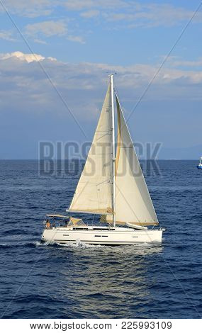 Antipaxos Harbour, Greece - October 01, 2017 : Antipaxos A Small Island South Of Corfu A Greek Islan