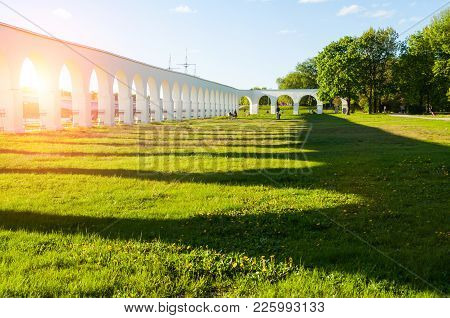 Arcade Of The Yaroslav's Courtyard At Summer Sunset In Veliky Novgorod, Russia